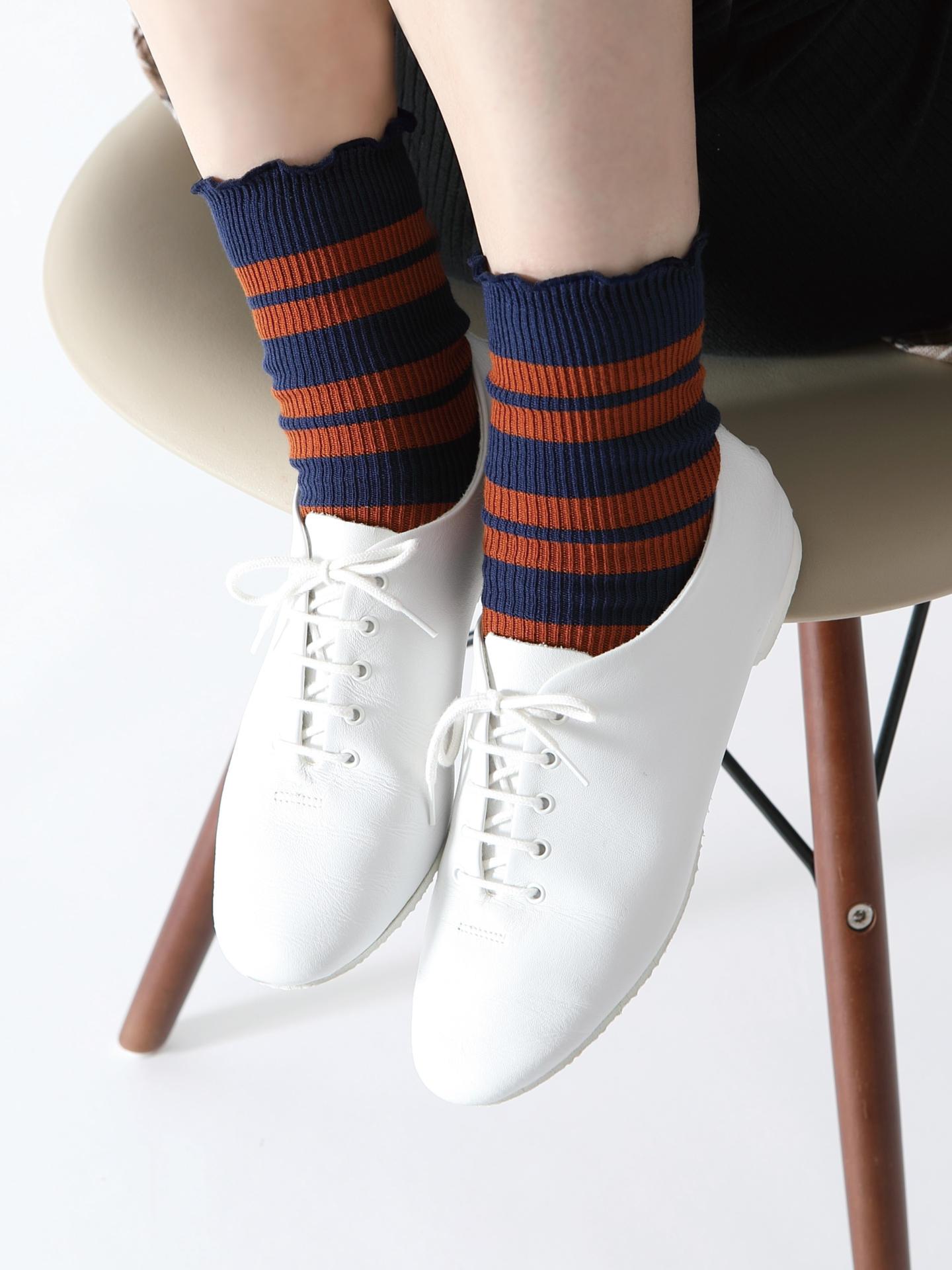 靴下屋 メロウ リブラインボーダー ソックス