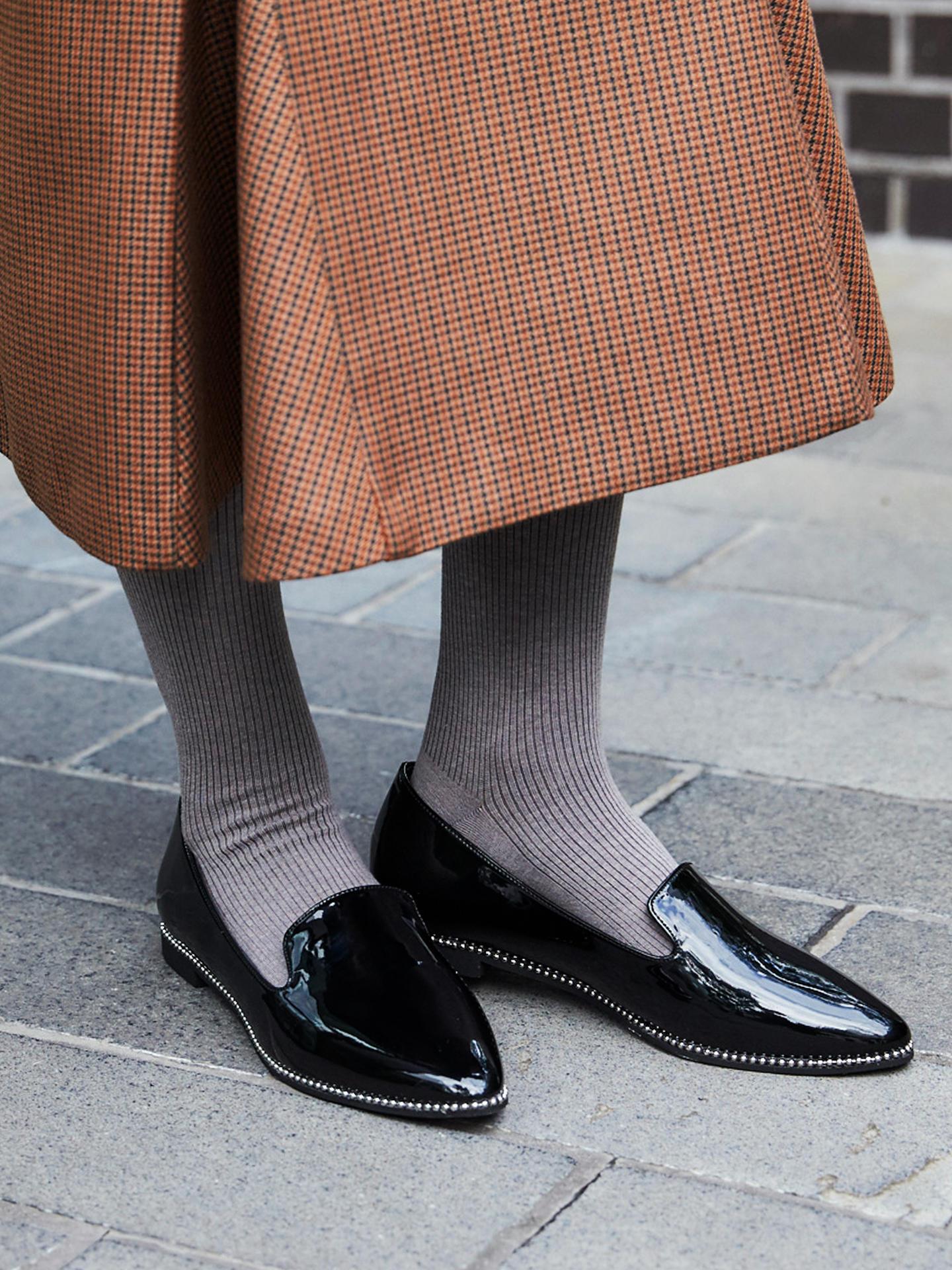 靴下屋 250デニール 綿混3×1リブ タイツ