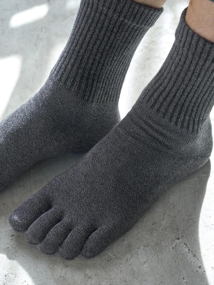 靴下屋 Tabio メンズ 綿履き口ゆったり五本指ソックス
